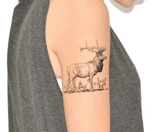 Temporary Tattoo - Woodland, Antlers, For him, Nature, Elk NO. L05