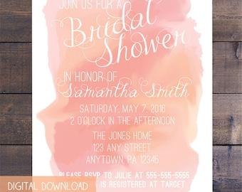 Pink Watercolor Bridal Shower Invitation