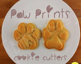 paw prints cookie cutters | biscuit cutter | paws print | dog | dogs foot prints feet footprint ooak one of a kind | Bakerlogy