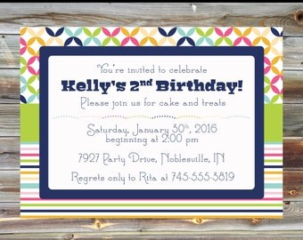 Rainbow Theme Second Birthday Invitation - Printable Custom 2nd Birthday Boy Girl Invitation - Rainbow Striped Theme Birthday Party Invite