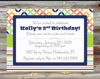 Rainbow Theme Second Birthday Invitation - Printable Custom 2nd Birthday Boy Girl Invitation - Rainbow Striped Theme Birthday Party Invite