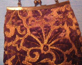 Brown and Gold Velvet Brocade Evening Bag