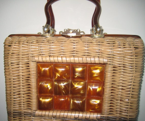 VTG Wicker and Lucite Bag by Stylecraft Miami