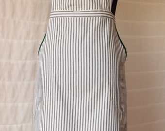 Lovely Peach Design Embroidered Apron on Navy/Cream Ticking Fabric, Chef Style with Green-Trimmed Side Pockets, Adjustable Straps