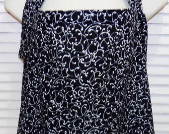 Nursing Cover like Hooter Hider Breastfeeding Nursing Cover Black & White Swirls 100 Percent Cotton