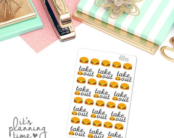 Take Out Burger Planner Stickers- 32 count