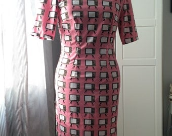 "1960s Style Fitted Shift ""Suki"" Dress. Size UK 12. Pink Retro TV Novelty Print. Flattering Classic Fitted Dress. V back. Modest Length"