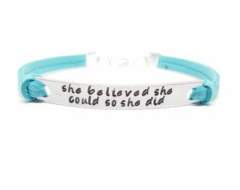 She Believed She Could So She Did Bracelet | Handstamped Inspirational Bracelet | Graduation Jewelry | Personalized Empowerment Bracelet