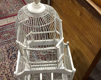 Vintage WOOD BIRD CAGE, Shabby Chic, White Chippy Paint, Wedding Bird House, Card Holder Wedding