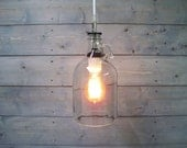 Wine Bottle Pendant Light Repurposed Glass - Half Gallon Clear Glass Jug with White Porcelain Socket
