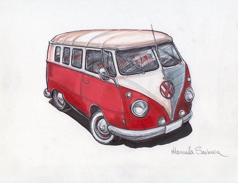 vw bus illustration druck alten vw bus zeichnung wand kunst. Black Bedroom Furniture Sets. Home Design Ideas