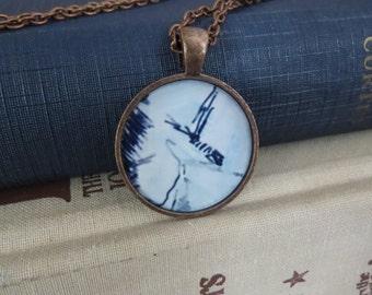 Blue Reflections Necklace / Blue Pattern Necklace / Pattern Necklace / Dark Blue Paint Necklace / Light Blue Paint Necklace