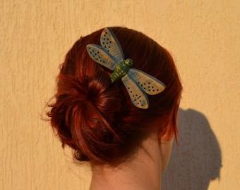 Wood Dragonfly Hair Pin, Barrette, Wooden Hair Accessory, Hair Stick, Wooden Hair Pin, Slide, Wooden Shawl Pin,Hair Comb,Carvin, Haarstabg,