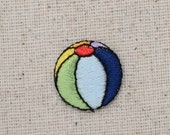 Small - Mini -Colorful - Striped Beach Ball - Summertime Water Toy -Iron on Applique - Embroidered Patch - 155548A