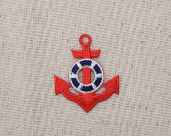 Nautical - Red Anchor - Blue/White Life Preserver - Iron on Applique - Embroidered Patch - 21260-5-A