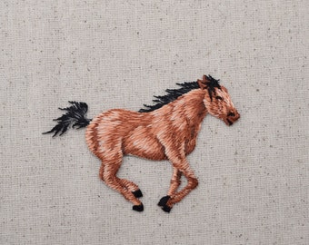Horse - Running Right - Bay Color - Embroidered Patch - Iron On Applique - 1119563