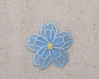 Light Blue Flower - Layered Organza - Beads - Sheer - Iron on Applique - Embroidered Patch - 153650A