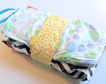 Diaper Strap, Diaper Holder, Diaper Clutch, Diaper Caddy, Yellow Dot