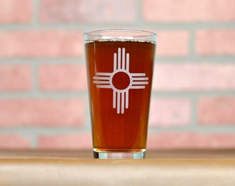 New Mexico Glass. Etched Pint Glass. Beer Gifts.