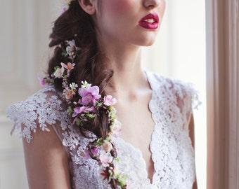 Flower Hair Garland Wedding Hair Flowers Head Wreath Flower Crown Cherry Blossoms Pink White Bridal Wreath Fairy Wreath Floral Hair Crown