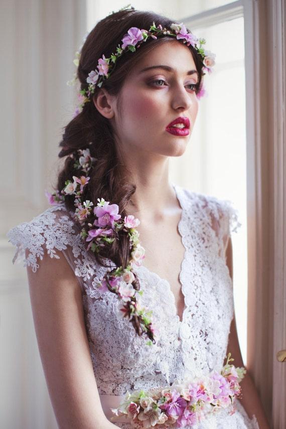 Fleur cheveux guirlande mariage