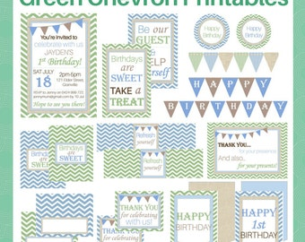 Green Chevron DELUXE party printable Pack - Perfect for baby boy's first birthday or male party - Instant Digital Download