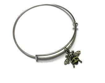 Bumble Bee Charm Bracelet - Bumble Bee Bangle - Bee Bangle - Bee Bracelet - Silver Adjustable Charm Bangle Bracelet - Bee Jewelry