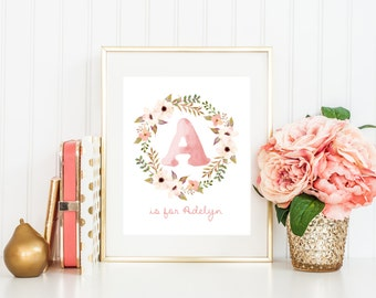 Boho Nursery Wall Art Printable Baby Name, Girl Tribal Woodland Baby Shower Decor, Coral Watercolor Floral Personalized Gift