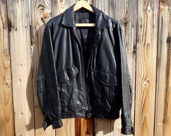 Vintage Black Leather Jacket - Men's Medium