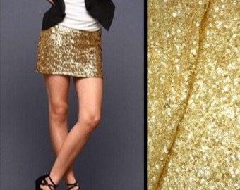 Shiny Gold Sequin Mini Skirt