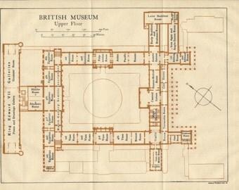 1919 British Museum, London, England, United Kingdom Antique map