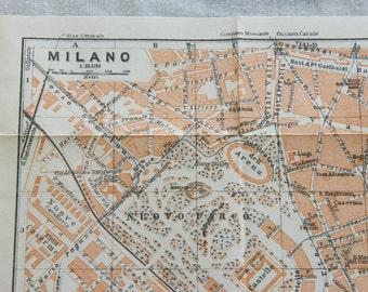 1909 Milan Italy Antique Map