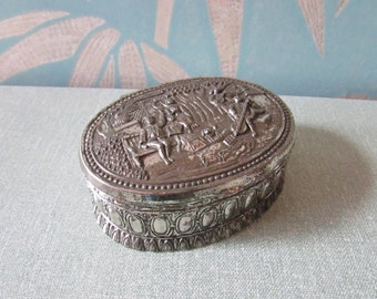 1960s Godinger-style silver metal, lined trinket box