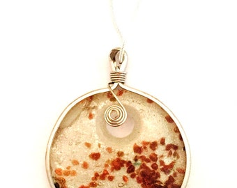 Hand Blown Glass Pendant Necklace- White with Brown -Wire Wrapped Glass Necklace on a Sterling Silver Chain 18 inch or 28 inch