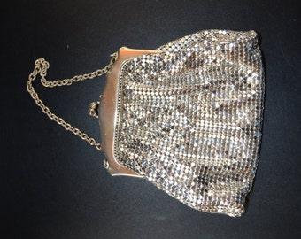 Vintage Silver Mesh Whiting Davis Enamel Purse Art Deco Mid Century Period with Box Flapper Handbag Fashion Bag