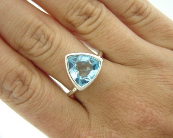 Trillion Ring -  Blue Topaz - Engagement Ring - Solitaire Ring - 925 Sterling Silver Ring