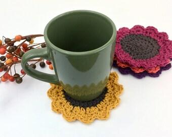 Sunflower Coasters Fall Coaster Set Autumn Trivets Cotton Coaster Crochet Gifts Thanksgiving Decor Housewarming Gift Gold Red Orange Purple