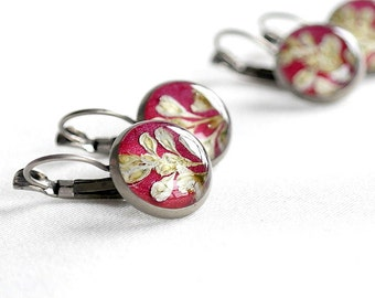 Rustic gift Antique earrings for bride Ruby jewelry present Rustic jewelry Red earring Flower for her Rustic earring Ruby earring for sister