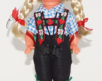 Plastic Girl doll dressed in Swiss outfit