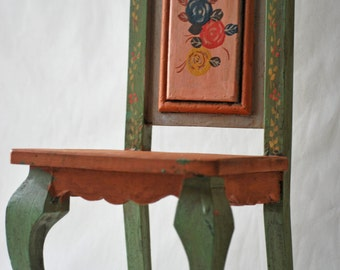 "16"" Hand Painted Wooden Chair for Teddy Bear or Doll. Wood Country Style Boho Vintage style. Eco Friendly"