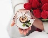 Wedding Ring Box, Glass Ring Bearer Box, Rose Gold Ring Box, Geometric Ring Pillow, Spring Wedding, Small Copper Planter, Glass Jewelry Box