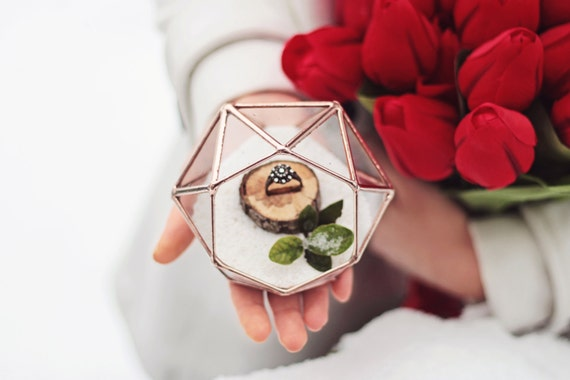 NEW! Mini Diamond Ring Bearer Box / Wedding Ring Box / Rose Gold Ring Box / Wedding Ceremony Decor / Summer Wedding / Geometric Ring Pillow