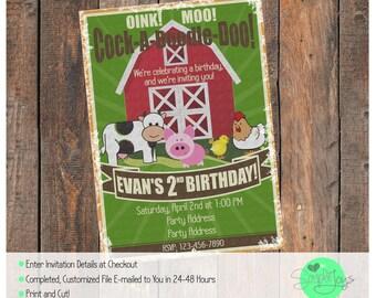 Vintage Farm Animals Barn Birthday Invitation - Digital File - We Customize, You Print!