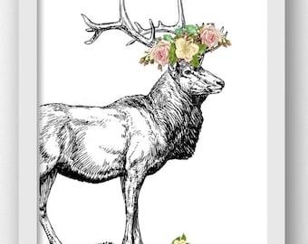 Elk Prints Elk Pictures, Elk Prints, Digital Elk Prints, Digital Elk Wall Art Prints, Digital Prints,Elk With Flowers, Hunting Lodge Art