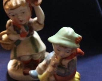OCCUPIED JAPAN Girl and Boy Figurines