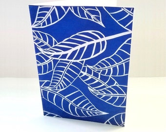 Blue and white, Linocut print, Fallen leaves, Handmade greeting cards, Birthday card for him, Thank you card, Fall leaf, Art cards