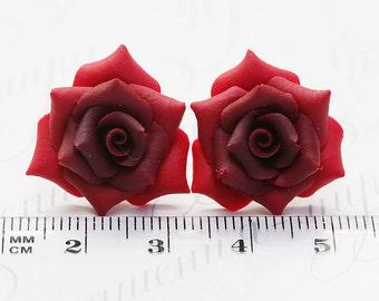 Red Rose Earrings Studs. Red flower earrings. Polymer clay Rose Earrings Post. Red Rose Jewelry. Red Bridesmaids gift. Red earrings pin up