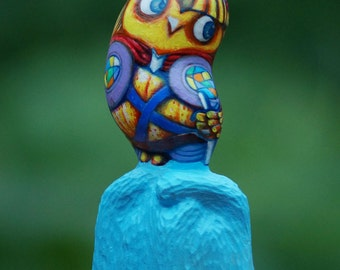 Wood carving sculpture painting , wood carving  , painting , lovely owl   , wood carving painting art made to order
