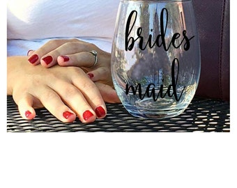 Bridesmaid Wine Glass - Bridesmaid Gifts - Bridesmaid Proposal Gift - Stemless Bridesmaid Wine Glass - Bridal Party Gifts