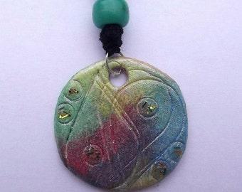 Handmade rainbow Yin Yang pendant
